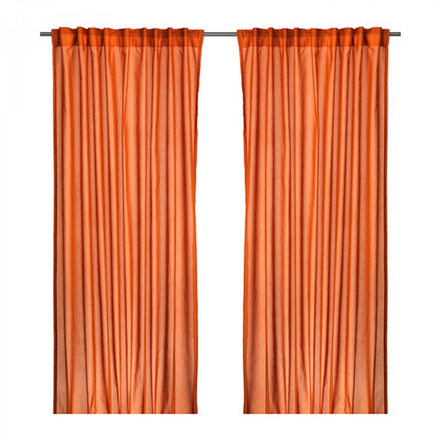 IKEA VIVAN CURTAINS Drapes DARK ORANGE 2 Panels