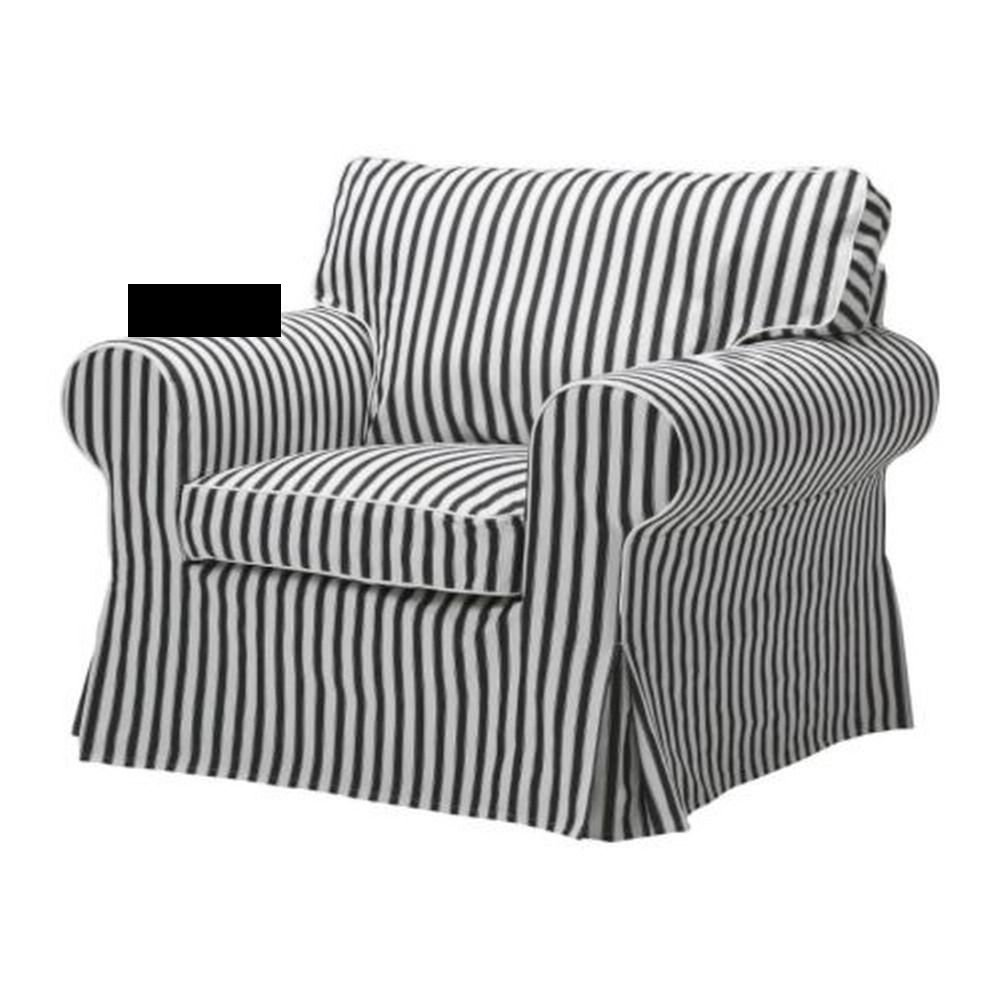 gray chair slipcover pier 1 imports dining chairs ikea ektorp armchair cover vallsta black white stripes