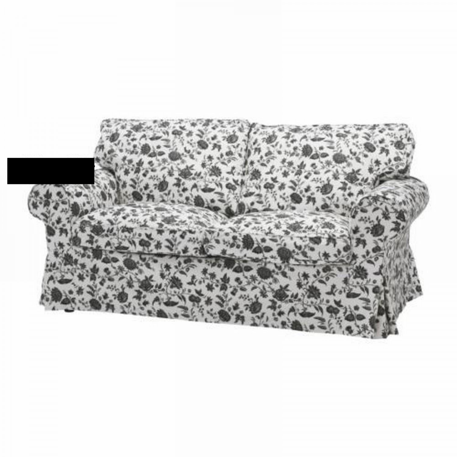 flower sofa covers messina leather collection ikea ektorp bed cover hovby black white bettsofa