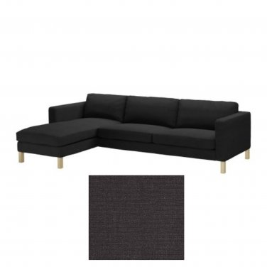 karlstad 3 seat sofa bed cover semi circular sofas in the uk ikea and chaise slipcover sivik dark gray add on grey