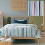 Ikea Tove Queen Full Double Duvet Cover Pillowcase Set Stripes Grey Red Blue Beige