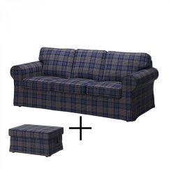 Plaid Sofa Cushions Organic Ikea Ektorp 3 Seat And Footstool Cover Slipcover