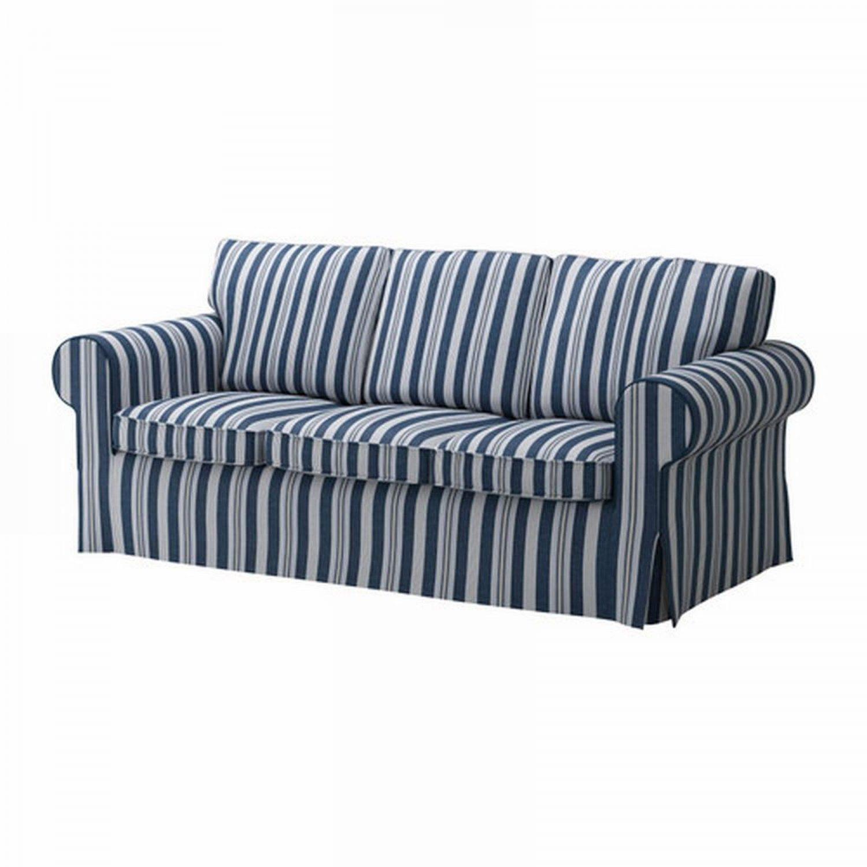 blue striped sofa uk tweed sectional ikea ektorp 3 seat cover slipcover abyn white