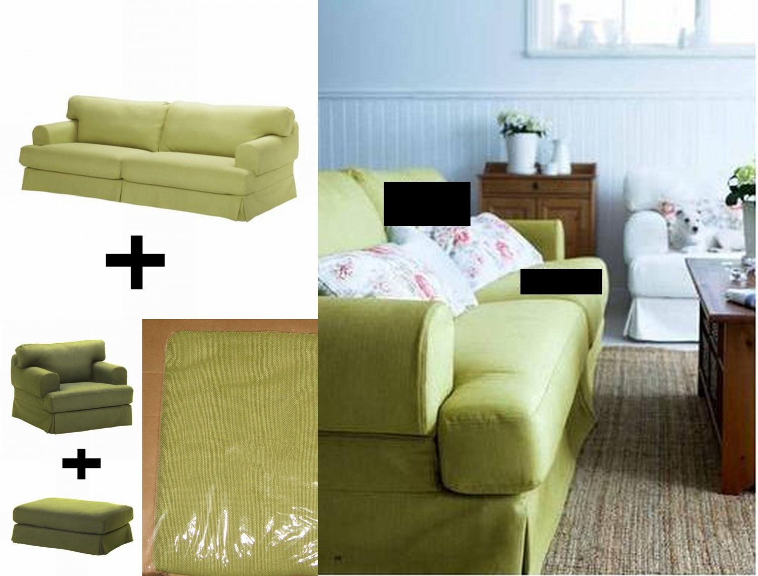 IKEA Hovas Sofa Armchair Chair And Footstool SLIPCOVER