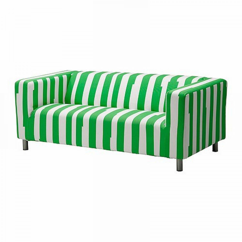 blue striped sofa uk camelback slipcovers ikea klippan loveseat slipcover cover ranten green