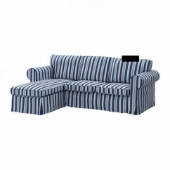 Blue Striped Sofa Uk Modern Designs For Living Room Ikea Ektorp Loveseat With Chaise Cover Slipcover Abyn