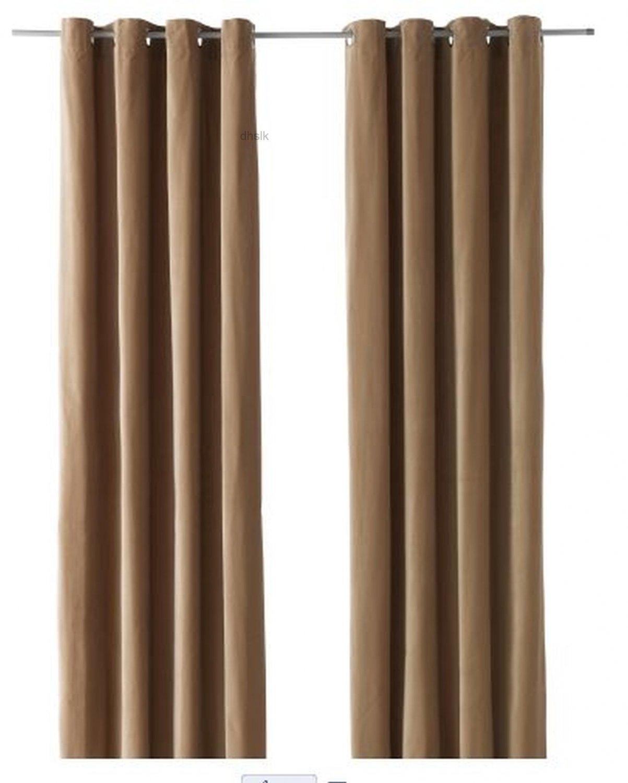 IKEA SANELA CURTAINS Drapes 2 Panels BEIGE VELVET 98