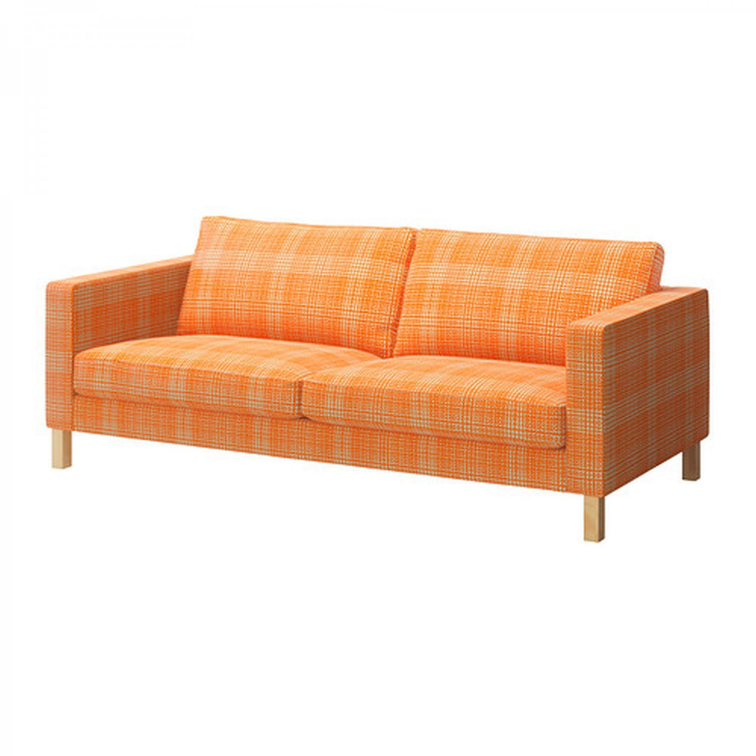 ikea karlstad chair track chairs for wounded veterans 3 seat sofa slipcover cover husie orange print