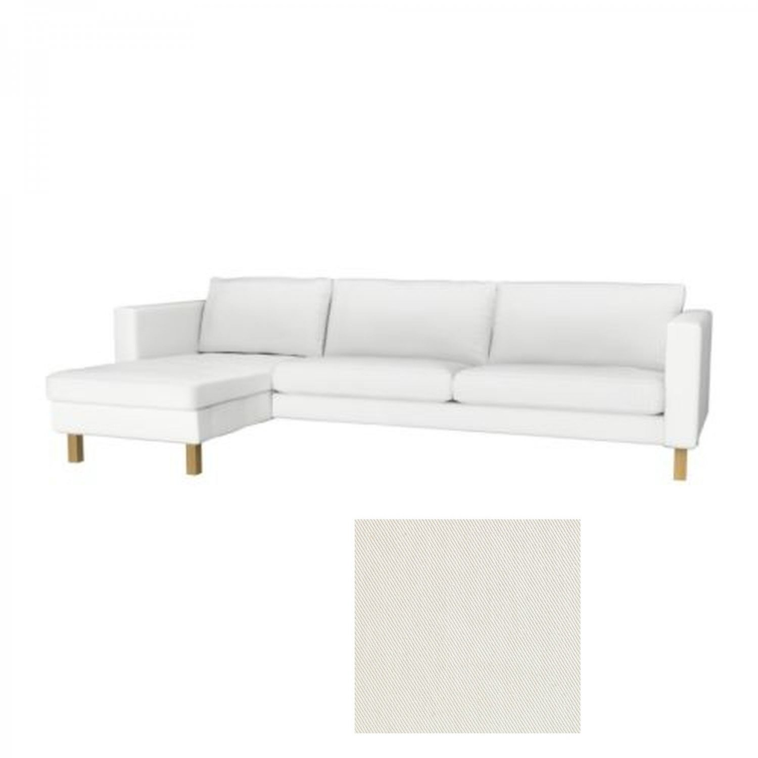 white lounge chair covers bar height adirondack chairs ikea karlstad 3 seat sofa and chaise slipcover cover