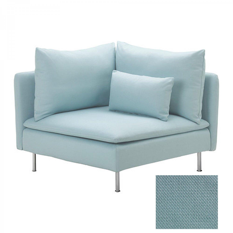 light blue chair covers hanging rope ikea soderhamn corner slipcover cover isefall turquoise