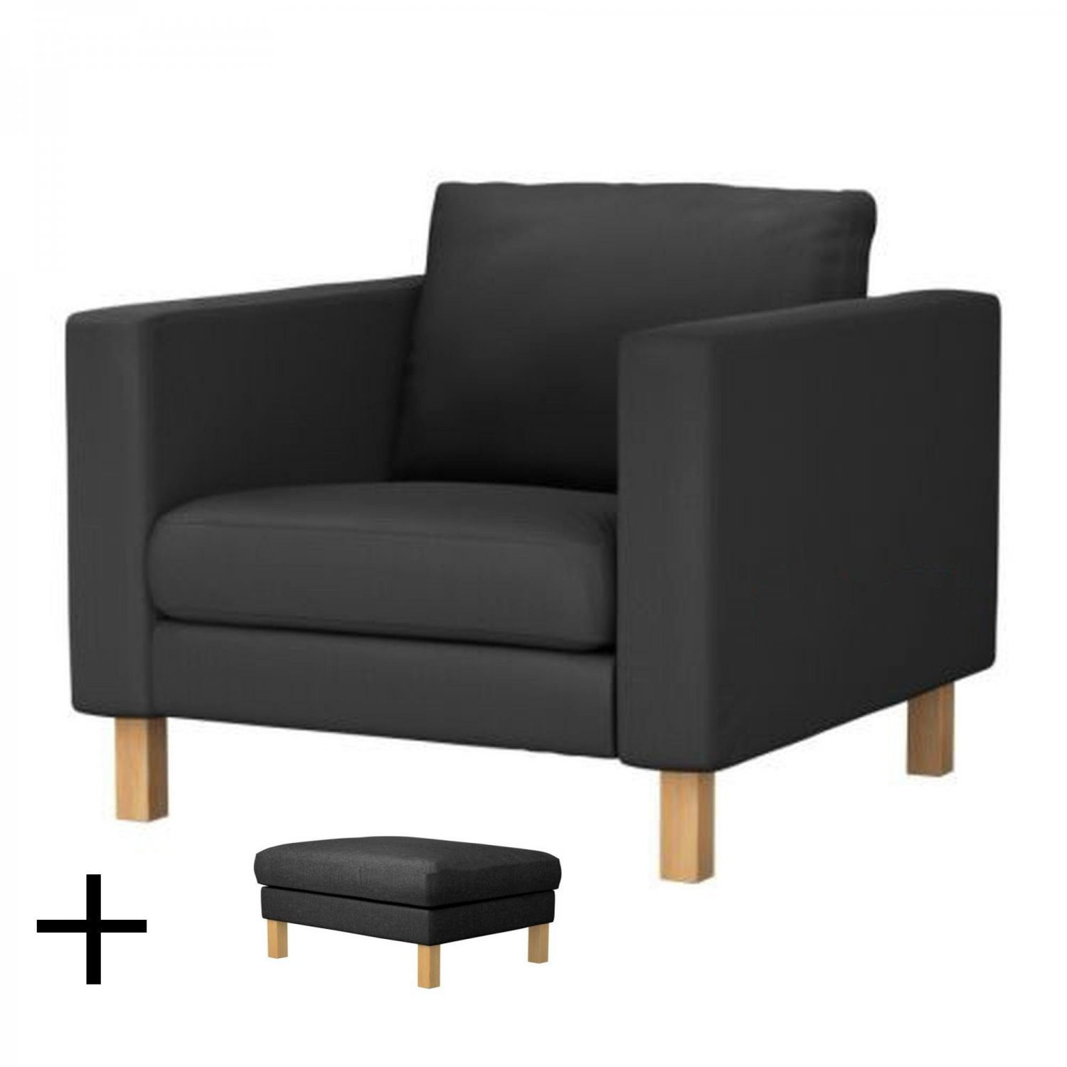 ikea chair with ottoman inglesina fast table recall karlstad armchair and footstool slipcover