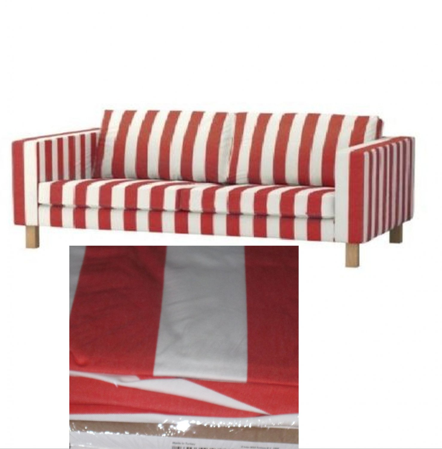 karlstad 3 seat sofa bed cover storage with cup holders ikea slipcover rannebo red