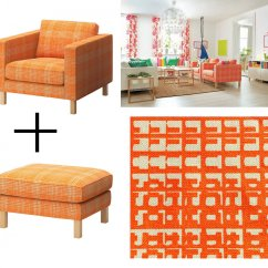 Karlstad Sofa Cover Uk What Is The Best Bed Mattress Ikea Husie Orange Armchair And Footstool
