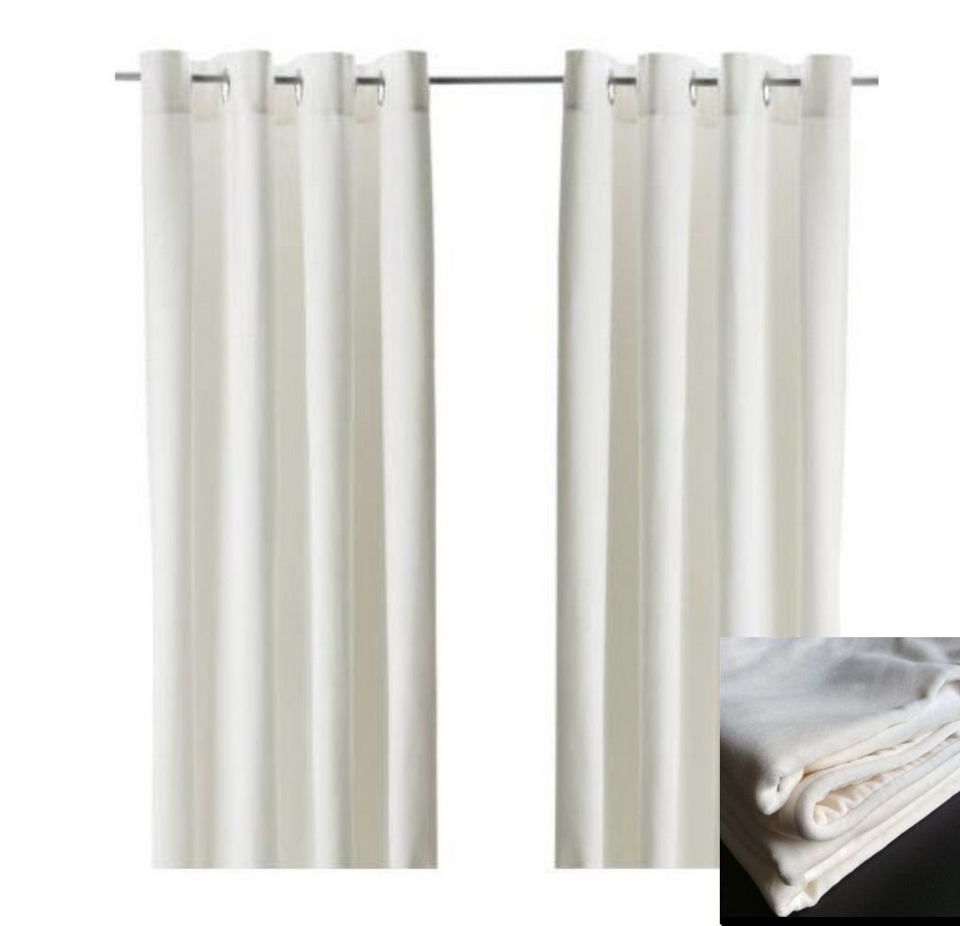 IKEA SANELA CURTAINS Drapes 2 Panels WHITE Offwhite