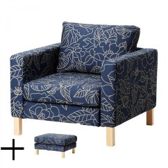 Chair Arm Protectors Pattern Ikea Folding Chairs White Karlstad Bladaker Blue Armchair And Footstool