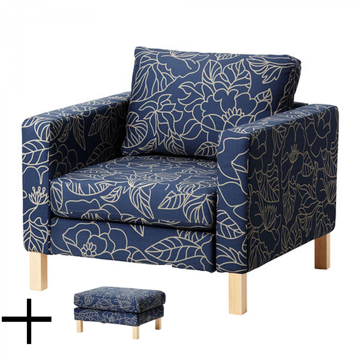 Slipcover For Oversized Chair And Ottoman Ikea Karlstad Bladaker Blue Armchair And Footstool