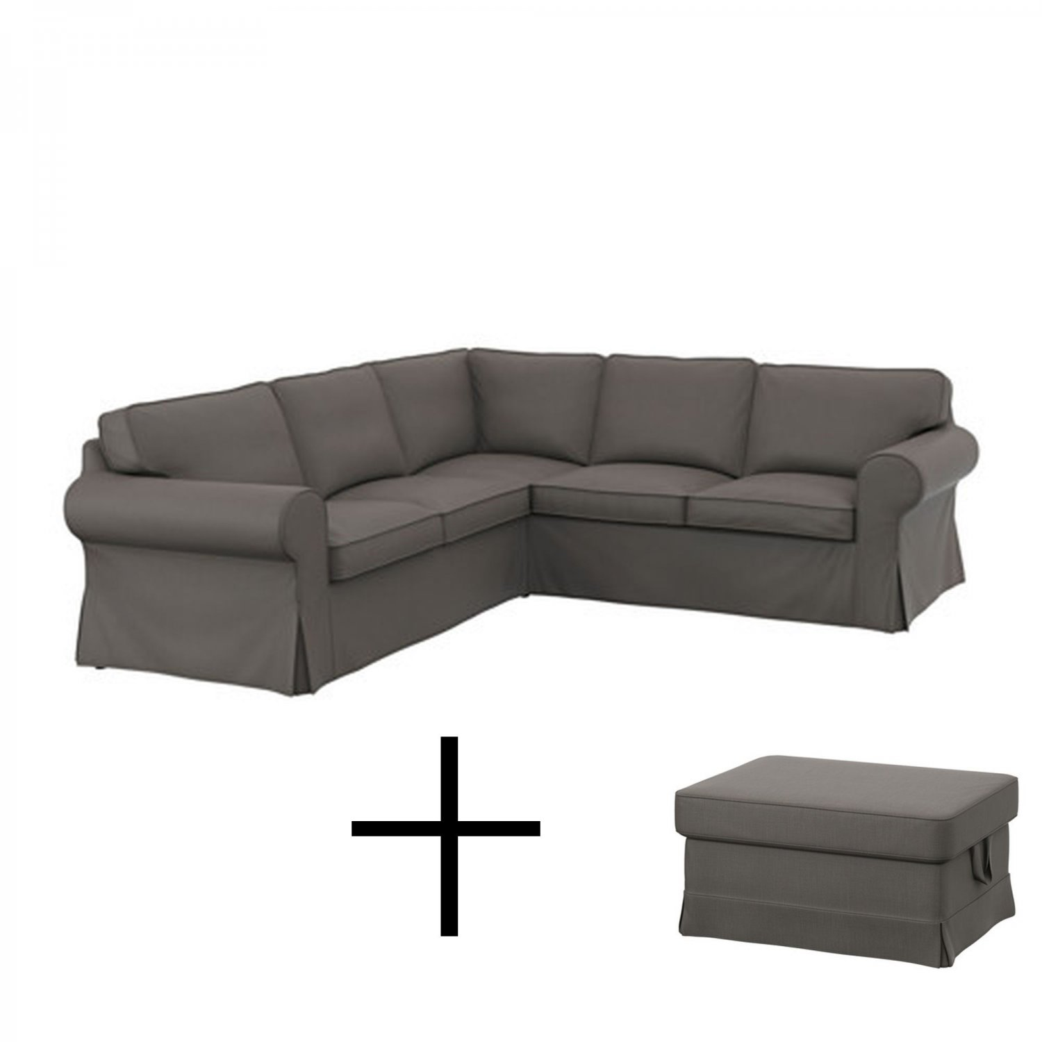 gray chair and ottoman slipcovers design types ikea ektorp 2 432 corner sofa footstool covers slipcover