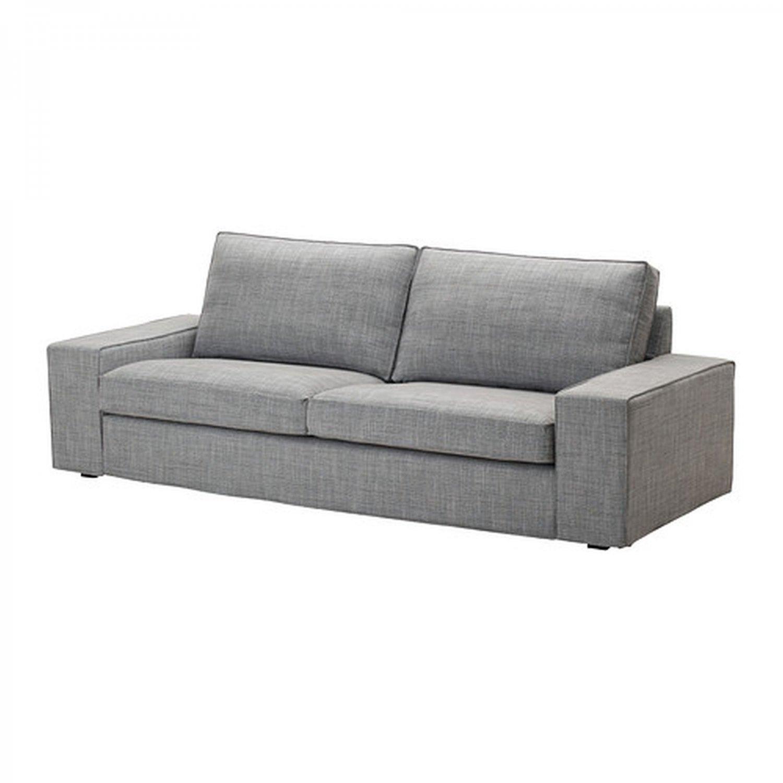 gray linen sofa slipcover modern table decor ikea kivik 3 seat cover isunda grey