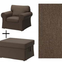 Ikea Chair With Ottoman Leather Covers Ektorp Armchair And Footstool Slipcovers Jonsboda Brown