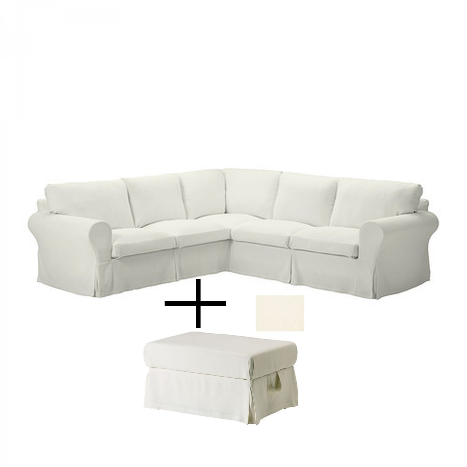 off white slipcover sofa catnapper reclining warranty ikea ektorp corner and footstool slipcovers stenasa