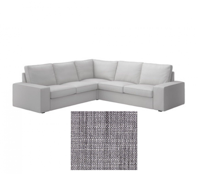 gray linen sofa slipcover large cover ikea kivik 2 432 corner slipcovers 4 seat sectional