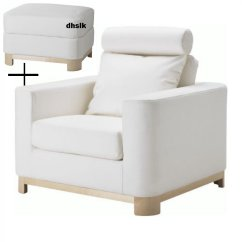 White Slipcover Chair And Ottoman Chairs For Sporting Events Ikea Salen Armchair Footstool Slipcovers Saganas