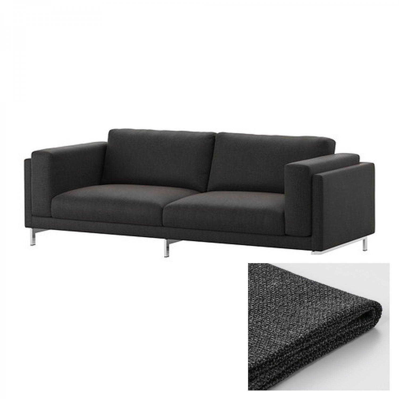 dark grey sofa cover orange sofas ikea nockeby slipcover 3 seat teno gray