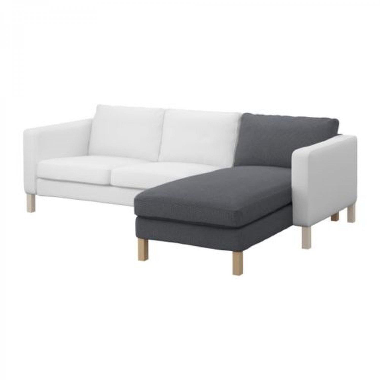 karlstad chair cover isunda gray used barber chairs ikea add on chaise longue slipcover korndal
