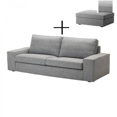 Gray Chair And Ottoman Slipcovers Indoor Chaise Chairs Ikea Kivik 3 Seat Sofa Footstool Covers
