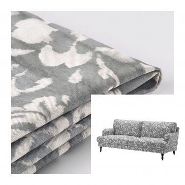 ikea stocksund chair covers herman miller chairs seattle 3 seat sofa slipcover cover hovsten gray white floral watercolour effect grey
