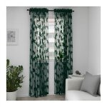 Ikea Nasselfjaril Lace Curtains Green Butterflies 2 Panels Drapes Romantic Retro Fun