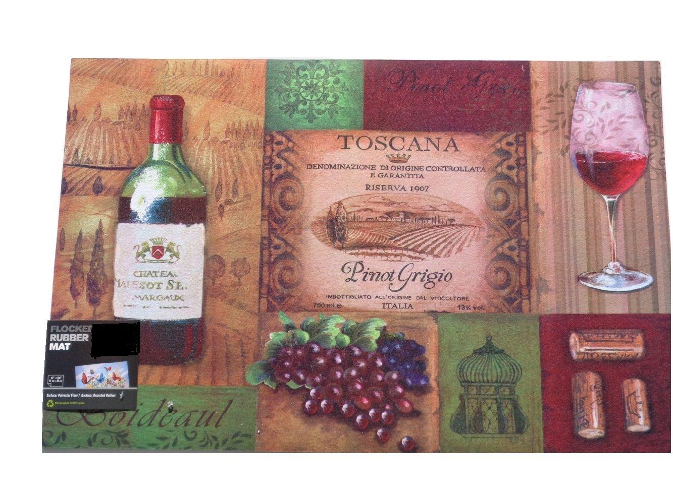 wine bottle themed kitchen decor island bench tuscan glass grapes rubber mat bar rug