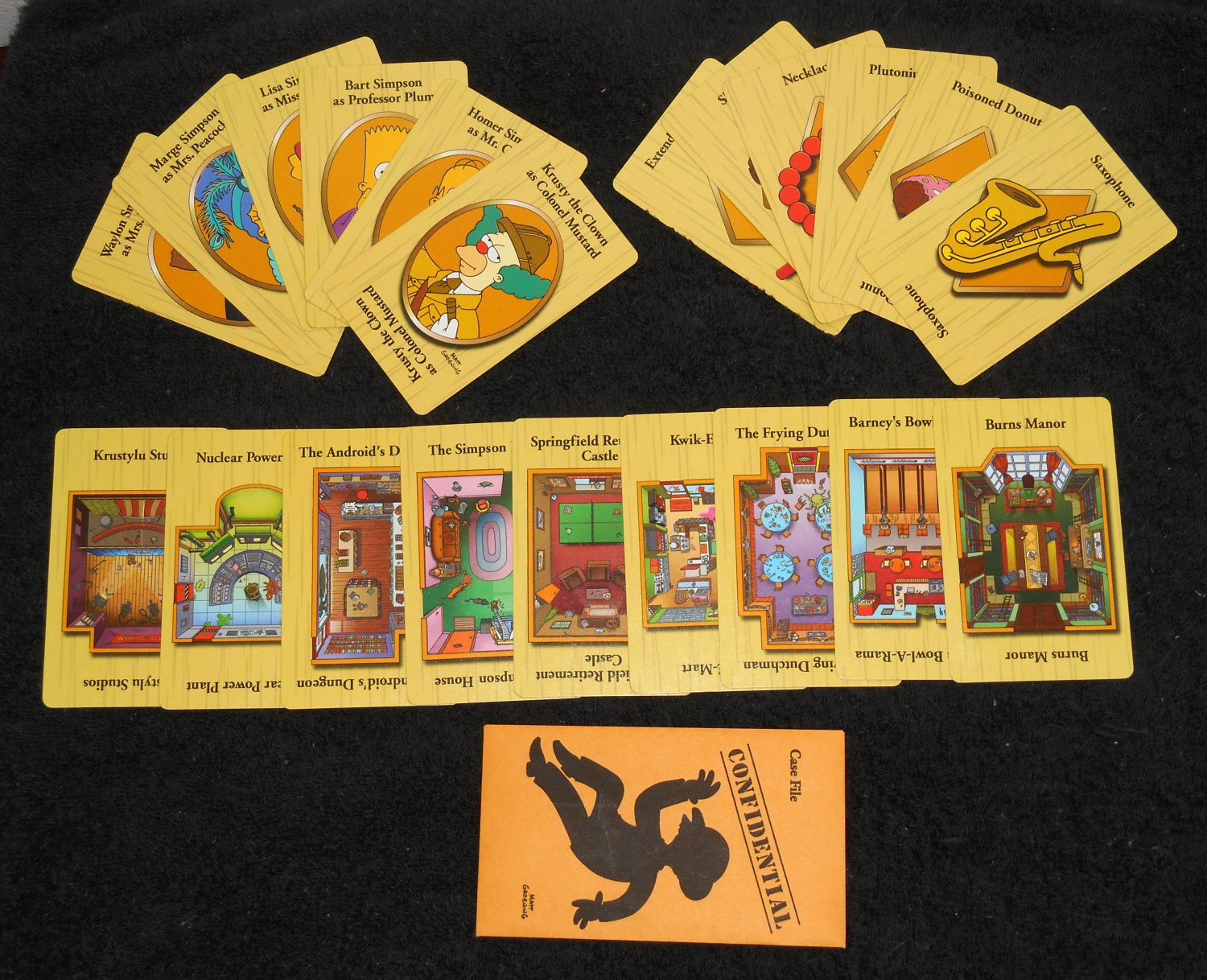 Simpsons Clue Game 2nd Edition Parts 21 Card Complete Set