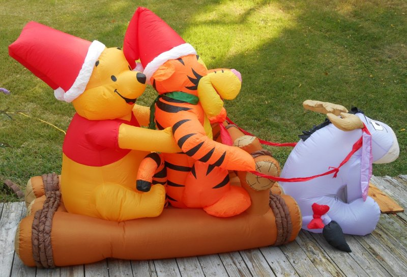 Sold Out Winnie Pooh Airn Fan Inflatable Christmas Sleigh Sled 8 Tigger Eeyore Disney Lights