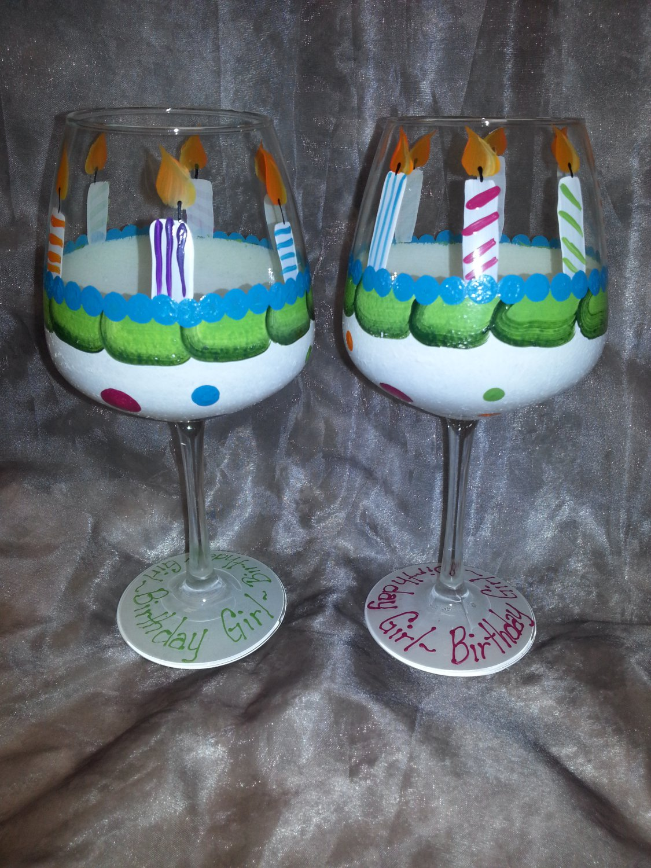 Hand Painted Quot Birthday Cake Quot Wine Glass