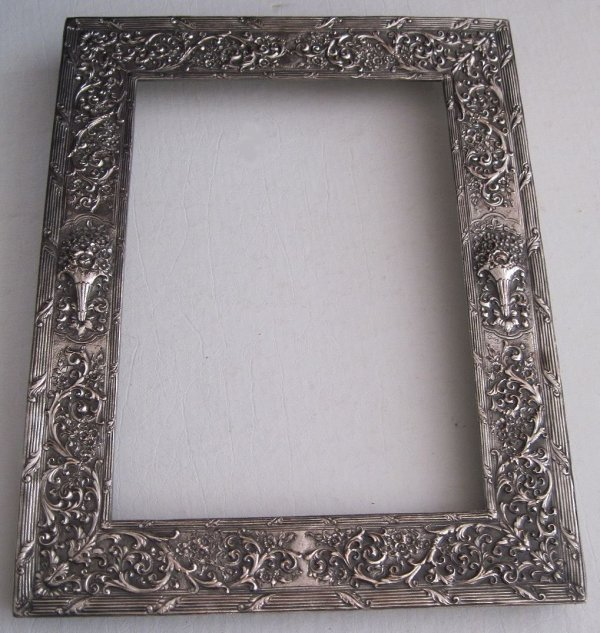 Ornate Barbour Silverplate Rectangular Frame Repousse Flowers Scrolls 10x13 3481