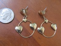 Vintage Flashy Bright Gold Tone Hearts Circle Dangle Drop ...