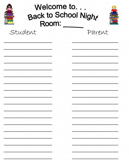 Open House & Back to School Night Sign in Sheets
