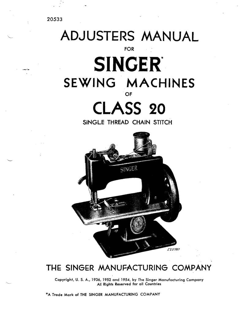 Singer 20 Class Sewing Machine Adjusters Manual Pdf