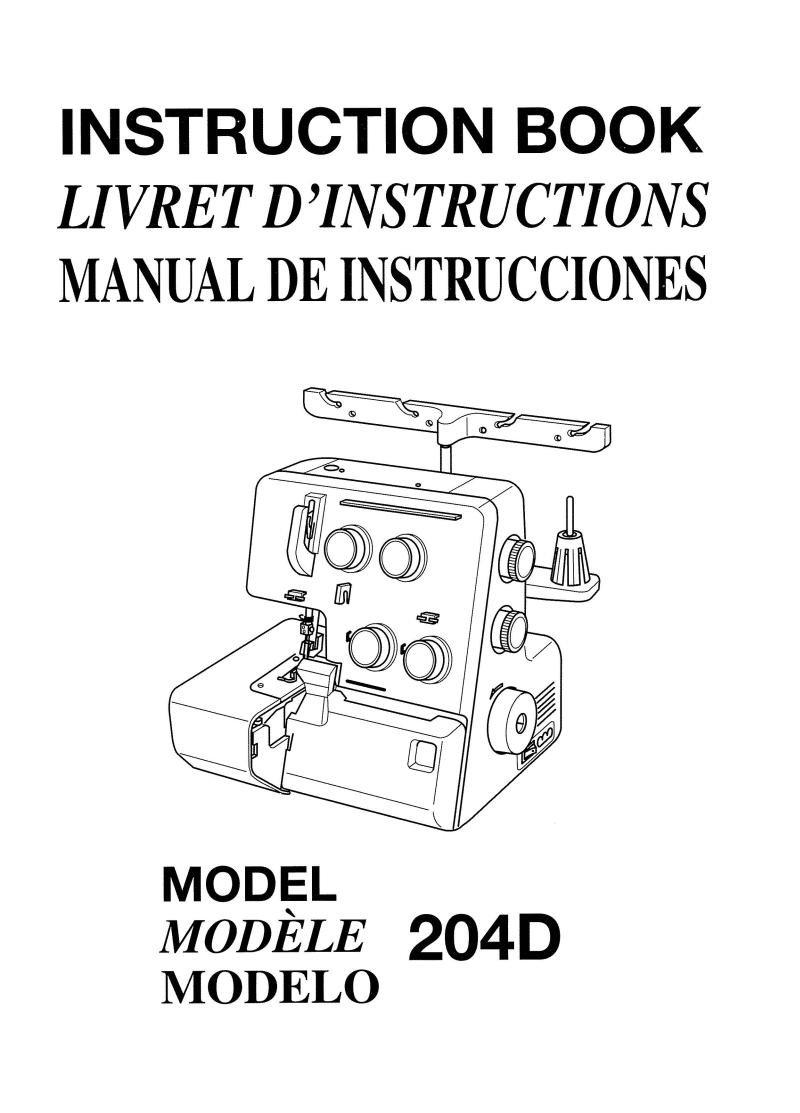 Janome 204D Serger Sewing Machine Manual Pdf