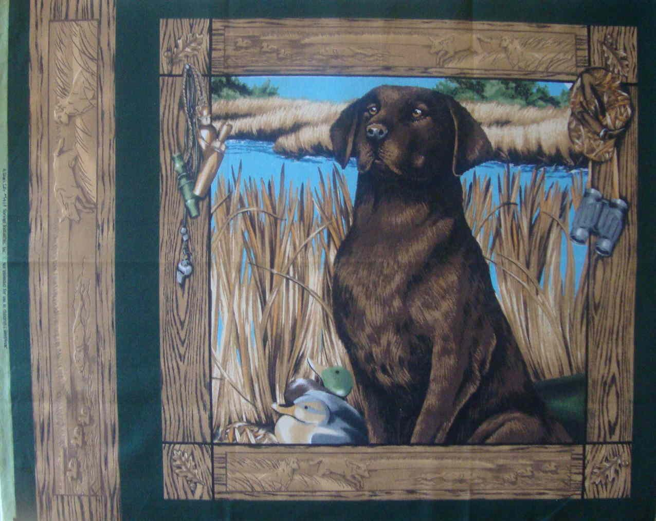 FQ A Dogs Life Chocolate Lab Duck Hunting Pillow Quilt