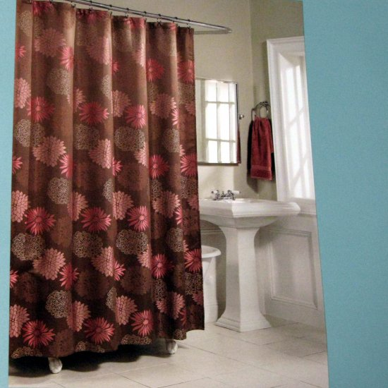 Kohls MARIANA Brown Pink Fabric Shower Curtain by Home
