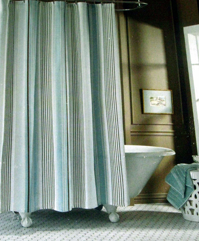 Fieldcrest Luxury Stripe Blue Taupe Brown Fabric Shower