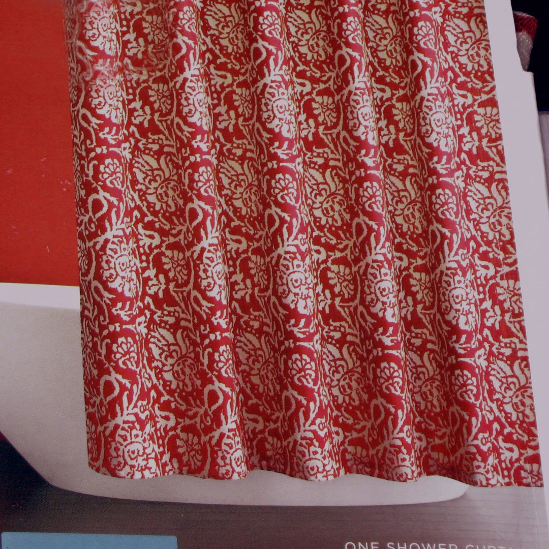 red jacobean floral fabric shower curtain