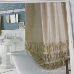 Home TAN RUCHED Solid Khaki Fabric Shower Curtain