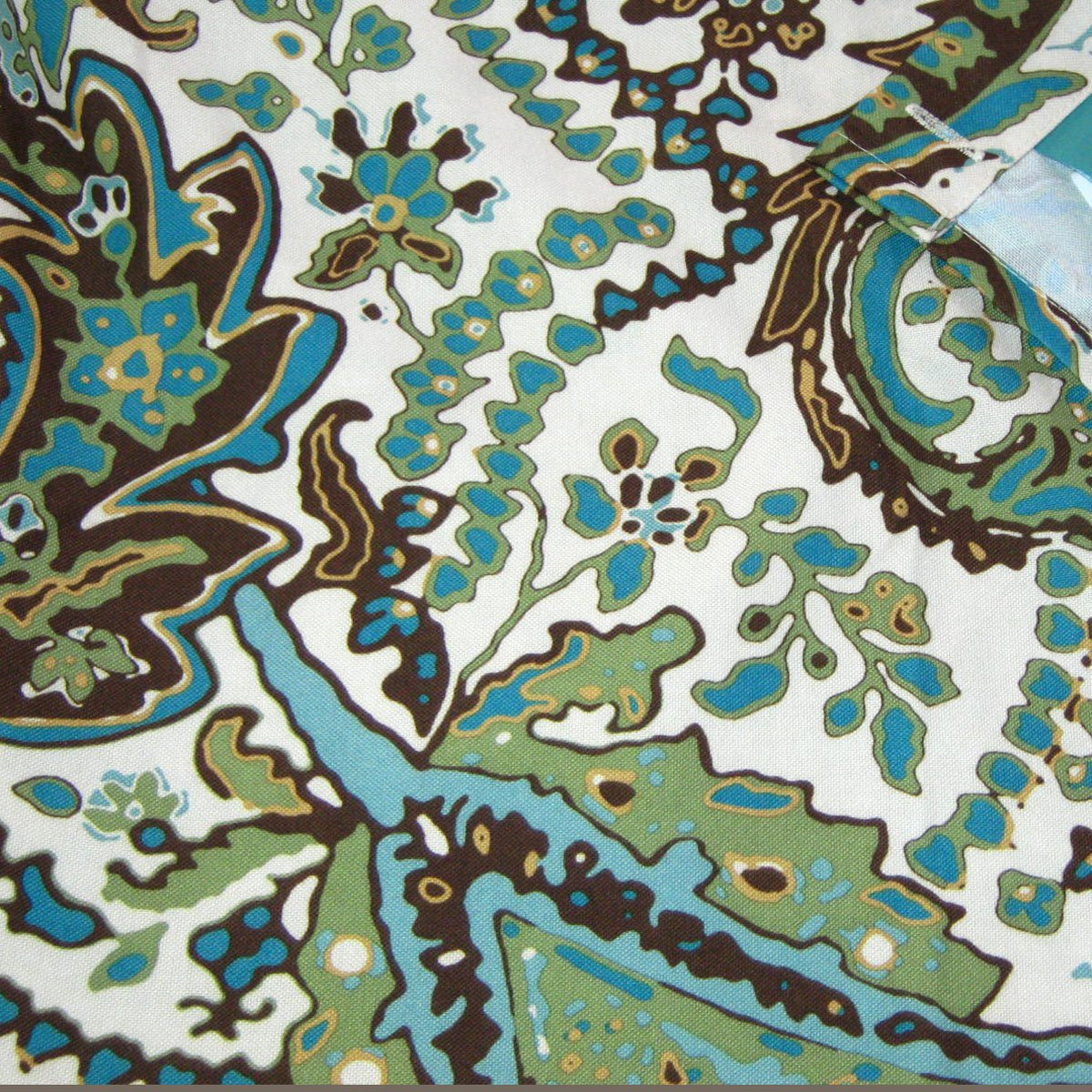 green brown floral fabric shower curtain