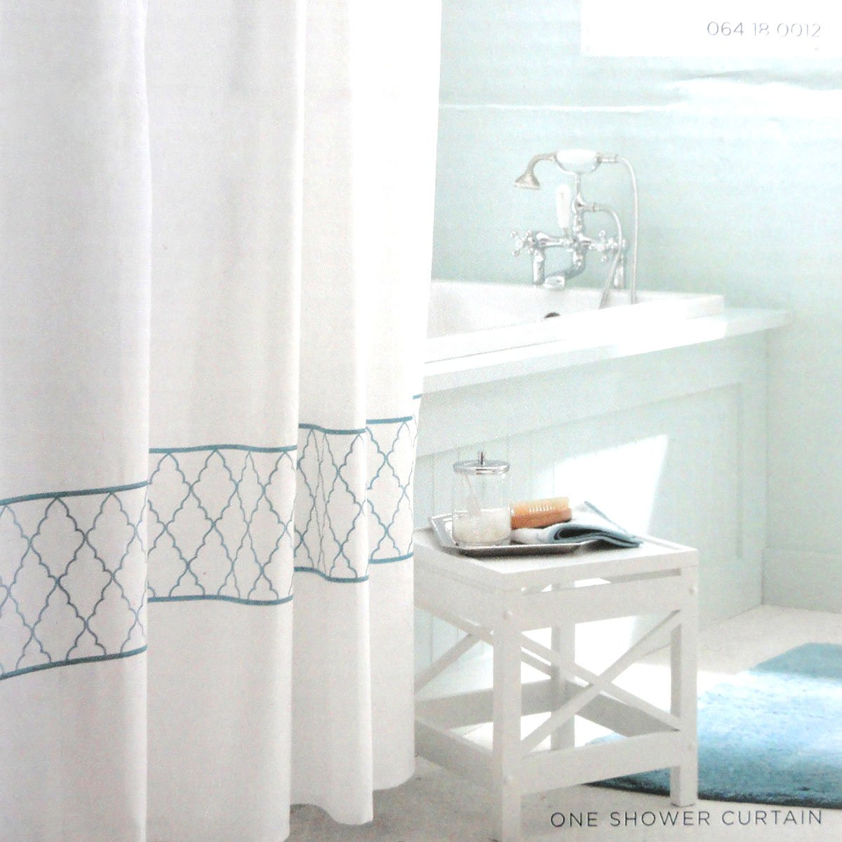 Target Home EMBROIDERED OGEE Fabric Shower Curtain blue