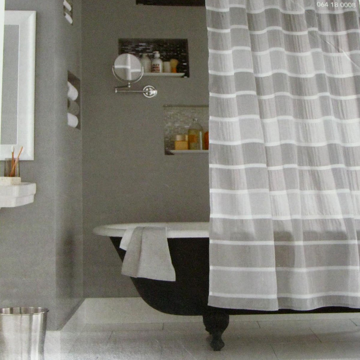 Target SEERSUCKER STRIPE GRAY Threshold Fabric Shower Curtain