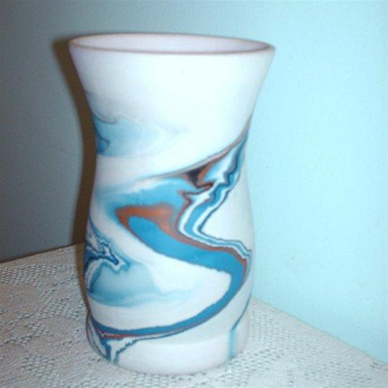 Nemadji Pottery Swirl Design Vase 1970s Vintage USA Indian