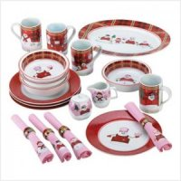 PERFECTLY PLAID SNOWMAN DINNERWARE SET